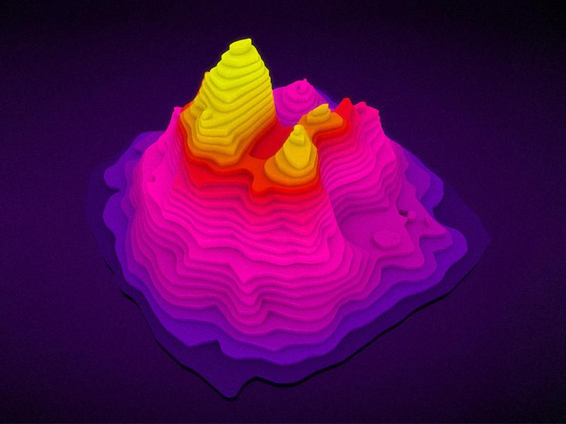 3D Landscape object map purple design modelling render illustration bright color landscape topography 3d