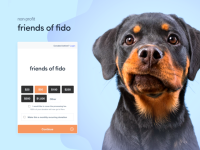Friends of Fido revv fido puppy dog donation donate fundraiser platform ux ui saas branding