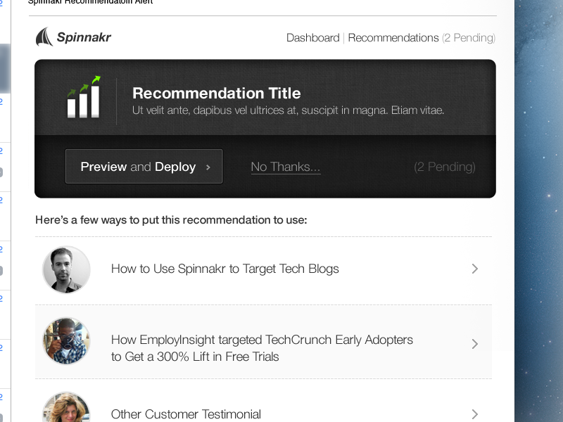 Recommendations Email by Jordan Flaig on Dribbble