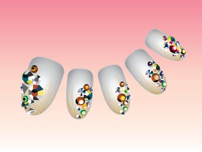 Nail Art Tokyo jewels nail art beauty gradient vector illustration