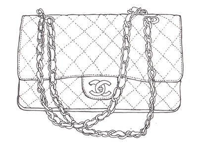 Suitcase Contents Line Drawings line drawing chanel illustration drawing pen and ink
