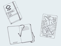 Suitcase Contents Line Drawings