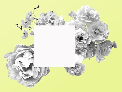 Bouquet Collage black  white yellow collage flowers