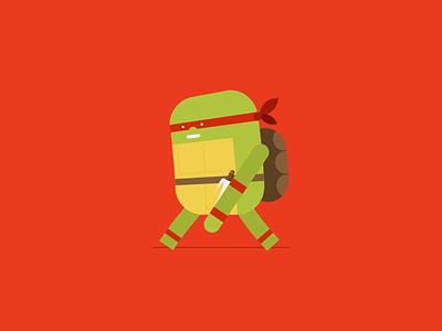TMNT - Raphael flat raphael teenage mutant ninja turtles characterdesign vector animation adobe aftereffects minimal illustration design