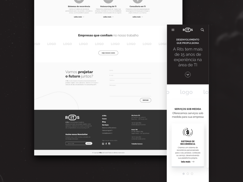 IT company Wireframe contact form newsletter card footer mobile cta landing page business institutional it social proof logos desktop website wireframe