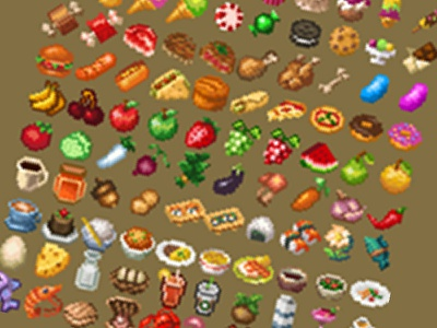 Pixel Art - Food Items Preview game items pixel art inventory food icons pixel