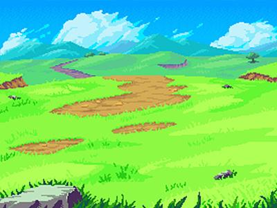 Sunny Hills Battle Background art asset video game indie game pixel art hills background pixel