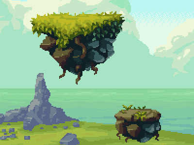Magic Cliffs Detail tile set pixel art game background