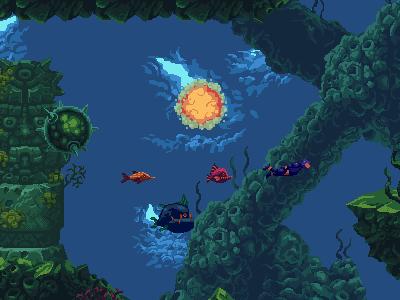 Underwater Diving Pixel Art game assets water game art video game indie game game pixel art pixel pixelart