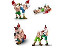 Illustration of dwarfs in mma fighting positions