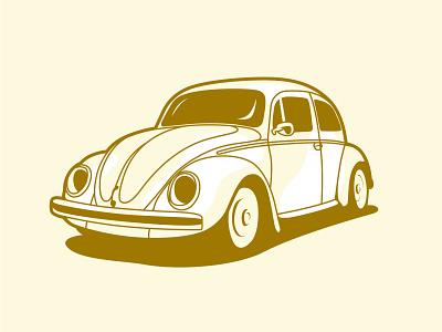 VW Beetle vintage car drawing vector design illustration