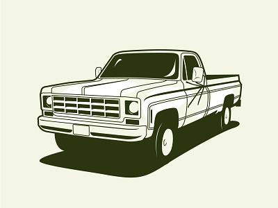Chevrolet K10 car truck vehicle illustrator drawing illustration vector design