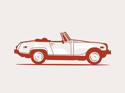 MG Midget vintage design automobile car drawing retro illustration retro vintage vector design illustration