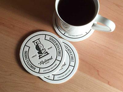 Railroad Diner Coasters coffee restaurant logo identity branding brand swag letterpress coaster
