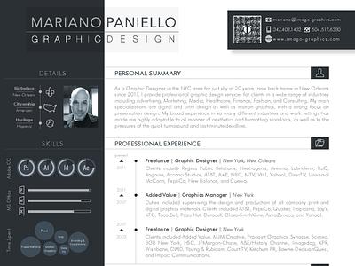 Mariano Paniello | Resume  2020 page formatting page layout print design graphic design document design resume