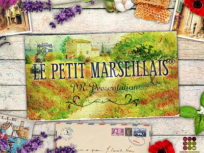 Detail from cover slide for Le Petit Marseillais presentation graphic design presentation design photoshop