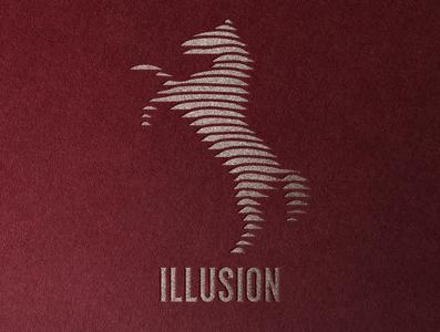Illusion horse branding icon design logo