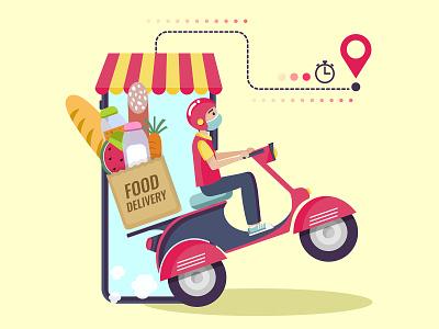 Online food delivery illustration vector bike scooter vespa mask online delivery food