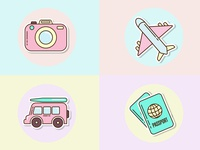 Simple sticker icons set. Adobe Illustrator tutorial. sticker simple pastel icon illustration vector
