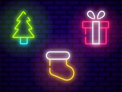 CHRISTMAS NEON ICONS   ADOBE ILLUSTRATOR TUTORIAL yellow green pink shine design illustration new year tree christmas vector neon