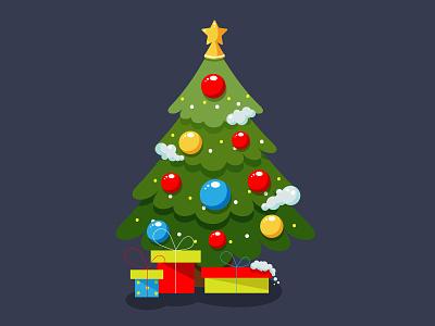 Christmas tree. Flat style. Adobe Illustrator Tutorial flat stars christmas golden holiday gold design vector illustration