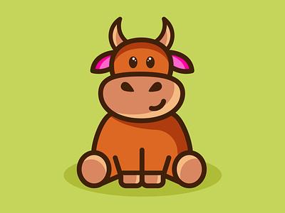 BULL. SYMBOL OF THE YEAR 2021. brand logo cute 2021 holiday illustration vector cow ox symbol bull