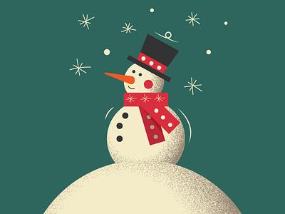 Cute Snowman. Adobe Illustrator tutorial christmas cute holiday illustration vector old retro vintage noise snowman