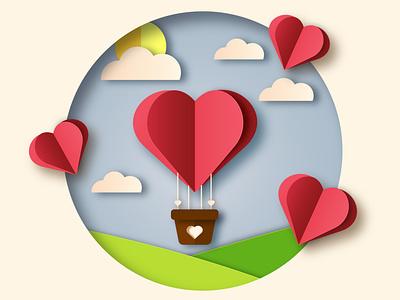 Valentine card. Adobe Illustrator Tutorial. postcard vector illustration vector art parer paper cutout love card valentine