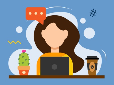A FLAT GIRL CHARACTER. ADOBE ILLUSTRATOR TUTORIAL coffee woman laptop cactus illustrator adobe character girl flat illustration vector