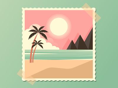 SUMMER LANDSCAPE. Adobe Illustrator Tutorial. vintage retro adobe illustrator mountains palm sun tutorial landscape illustration vector