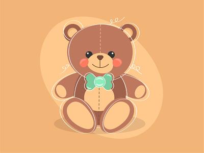 Cute teddy bear. Adobe Illustrator Tutorial girl boy newborn childrean kids toy teddy bear cute illustration vector