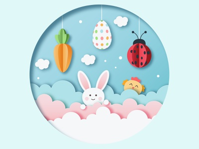 PAPER CUT OUR EASTER CARD. ADOBE ILLUSTRATOR TUTORIAL. pastel pink design holiday cute vector illustration cloud chick egg carrot ladybug easter bunny easter
