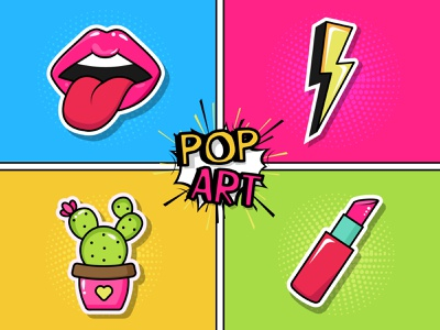 Pop Art Stickers. Adobe Illustrator Tutorial pop art popart halftone lipstick cactus lips sticker cute illustration vector