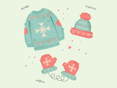 CUTE WINTER CLOTHES old vintage retro mittens hat sweater clothes graphic design cute holiday design illustration vector