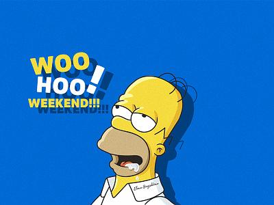 Weekend with Simpsons vector design ui illustration funart fun family homer weekend simpsons simpson