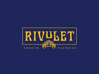 Rivulet Logo branding artnouveau logo gold navy french