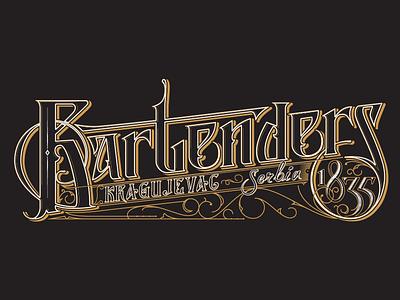 Bartenders1835 vector typography bartenders retro illustrator hand design lettering custom gold white black