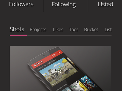 Dribbble Profile dribbble redesign ui android holo user interface mobile simple gui psd