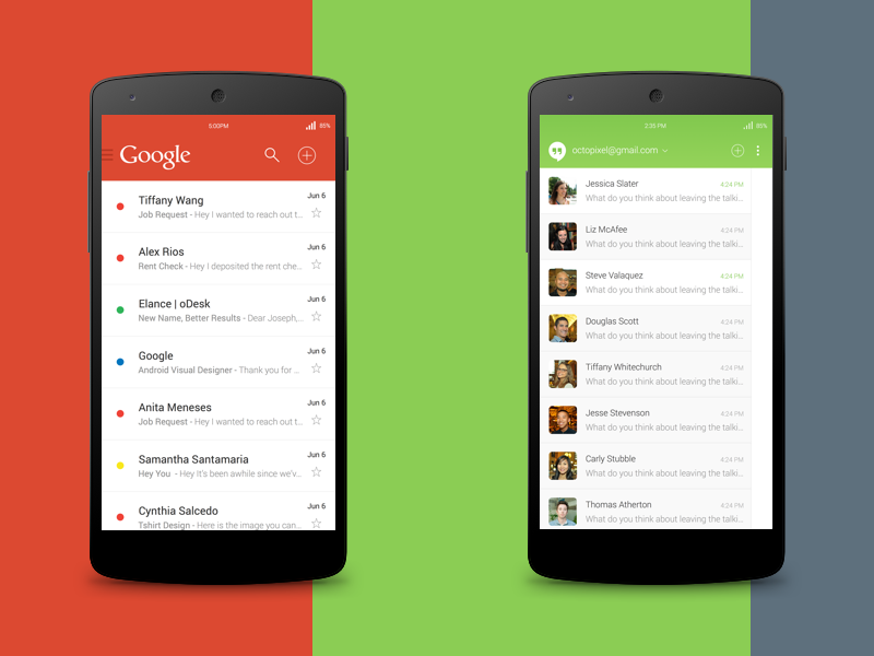 Android 5.0 Concept (WIP) android android 5.0 google redesign responsive clean gmail hangouts message