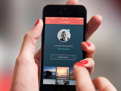 FriendFinder  mobile social clean ios app sleek open photos friend profile layout
