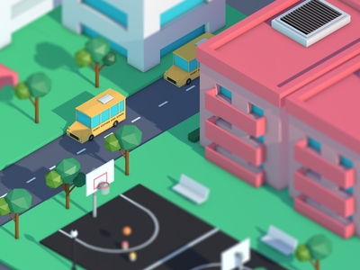 Low Poly City city cinema modeling c4d 3d animation low poly