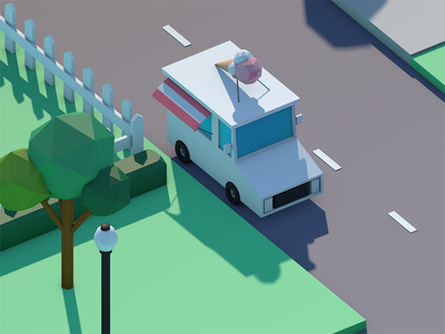 Ice cream truck city cinema modeling c4d 3d animation low poly