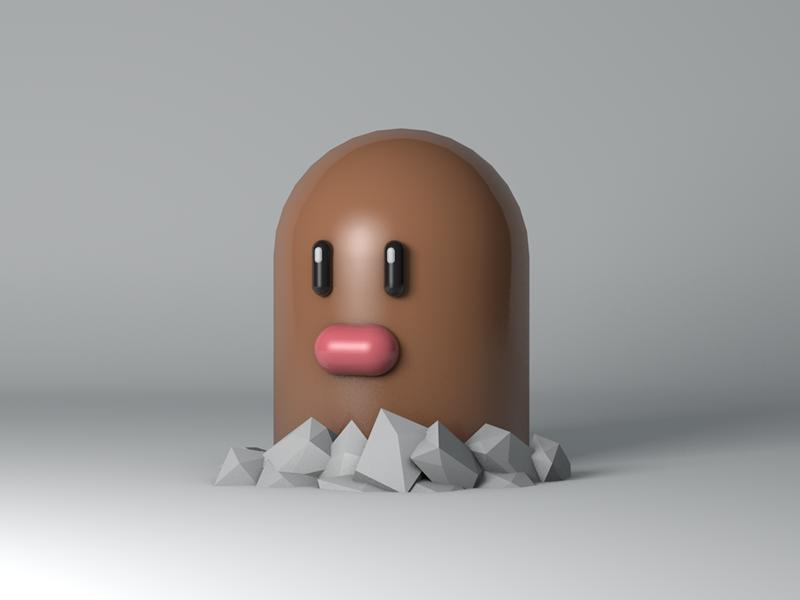 Diglett render cinema 4d modeling c4d 3d animation pokemon