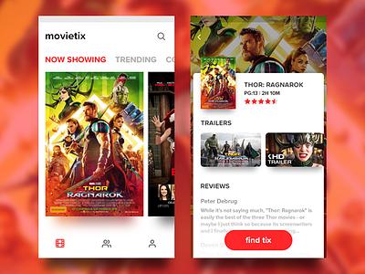 Movie Ticket app concept adobe xd mobile app design sketch ui design ux typography clean showtime movie visual ui