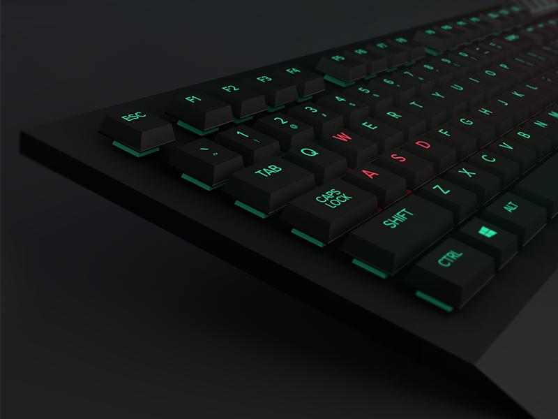 Gaming Keyboard 3d model cinema4d c4d razer corsair pc mechanical gaming rgb