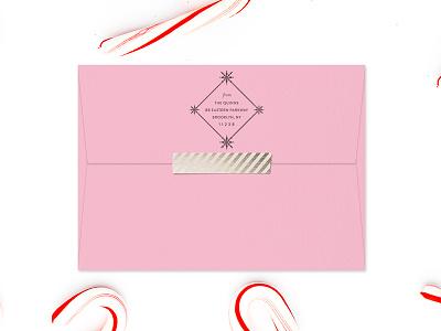 Diamond Snowflake Holiday Stamp christmas cards holiday cards envelope snail mail holiday christmas custom address stamp address stamp