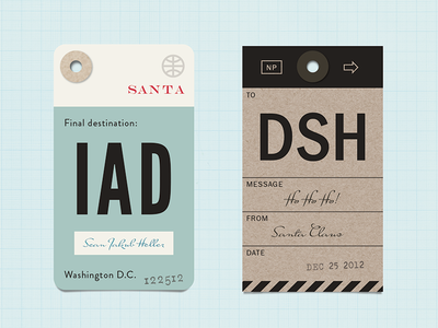 xmas tags that look like luggage tags