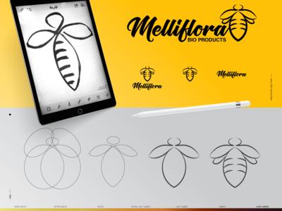Melliflora Honey Bee Branding yellow design logo bee honey