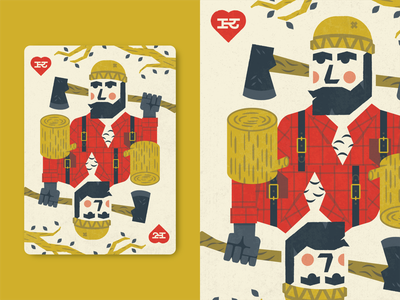 Lumberjack heart texture axe cards deck wood hearts king person man illustration beard lumberjack card playing