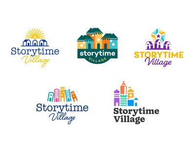 Storytime Village Identity Design city palette color books building village house sun literacy children kids story book typography wordmark design icon branding logo